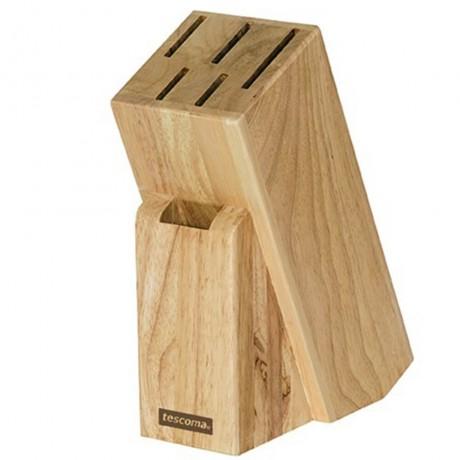 Дървен блок за 5 ножа и ножица Tescoma