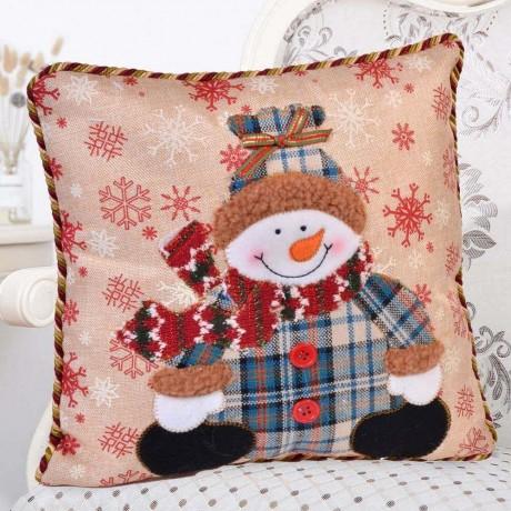 Коледна възглавница със снежен човек