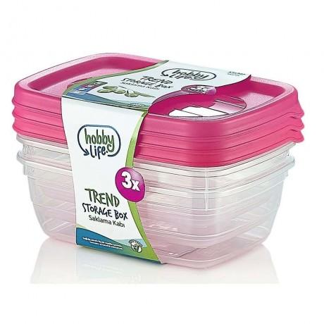 3 бр. кутии за храна по 2 литра с капак в цикламен цвят