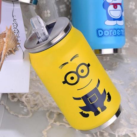 Метално кенче - термос с вградена сламка за пиене