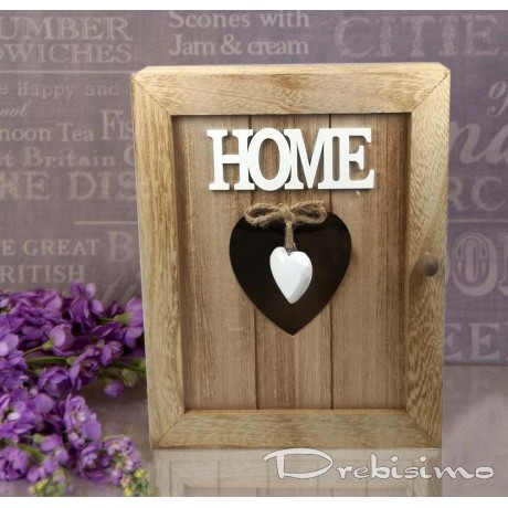 Кутия за ключове от дърво HOME