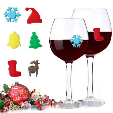 6 бр. силиконови Коледни отличителни знаци за винени чаши с вакуум