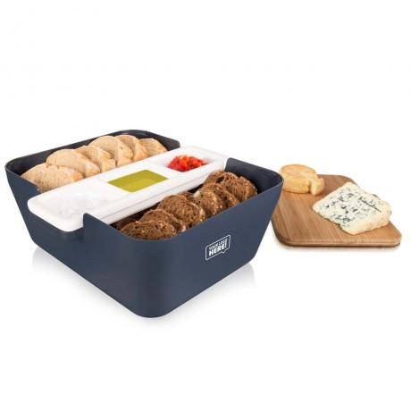 Кутия за хляб, купички за разядки и дъска за рязане - тъмно синя TOMORROW`S KITCHEN
