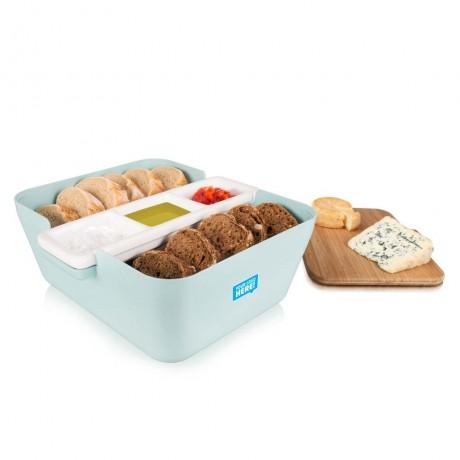 Кутия за хляб, купички за разядки и дъска за рязане - светло синя TOMORROW`S KITCHEN