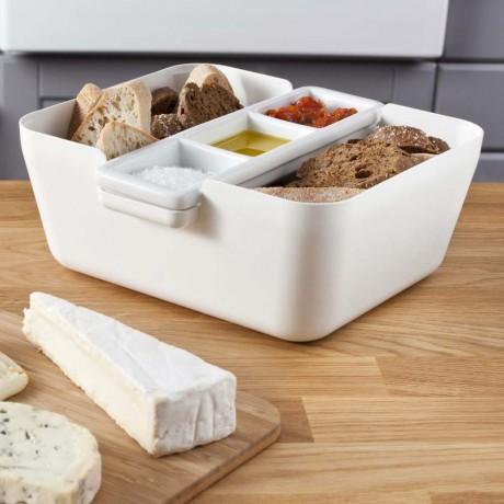 Кутия за хляб, купички за разядки и дъска за рязане - бяла TOMORROW`S KITCHEN
