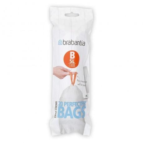 5 л. бели торбички за кош 20 бр. Brabantia размер B
