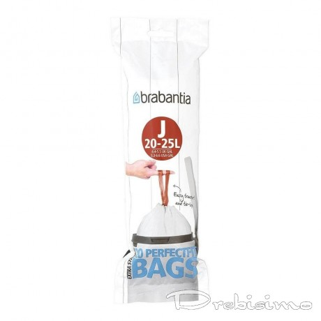 20 - 25 л. бели торбички за кош 20 бр. Brabantia, размер J
