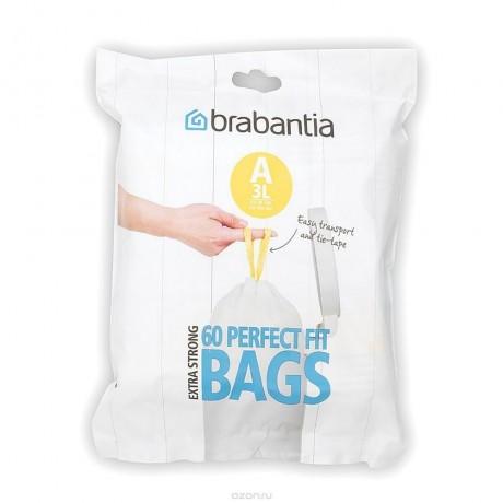 3 л. бели торбички за кош 60 бр. Brabantia размер A