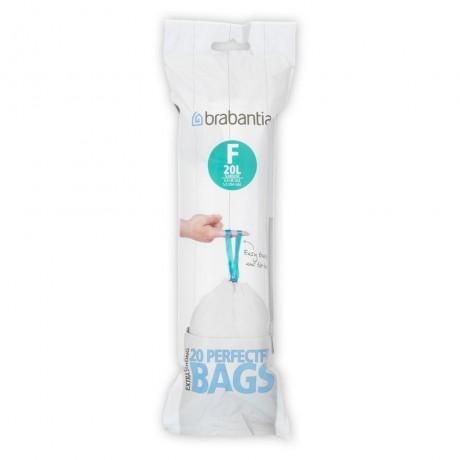 20 л. бели торбички за кош 20 бр. Pedal Slimline Brabantia, размер F