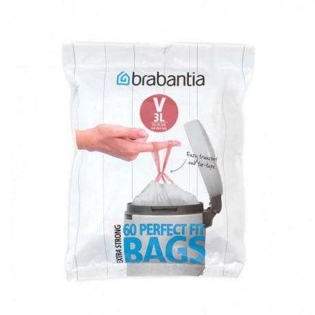 3 л. бели торбички за кош 60 бр. NewIcon Brabantia, размер V