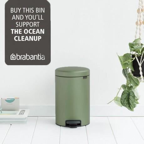 12 л. цвят зелен мъх кош за боклук с педал Brabantia NewIcon
