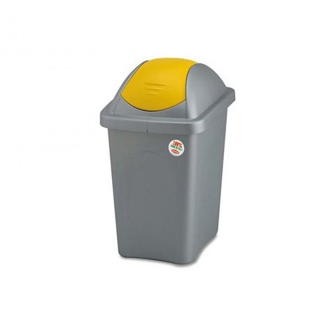 30 л. кош за боклук с люлеещ жълт капак STEFANPLAST от серия Multipat