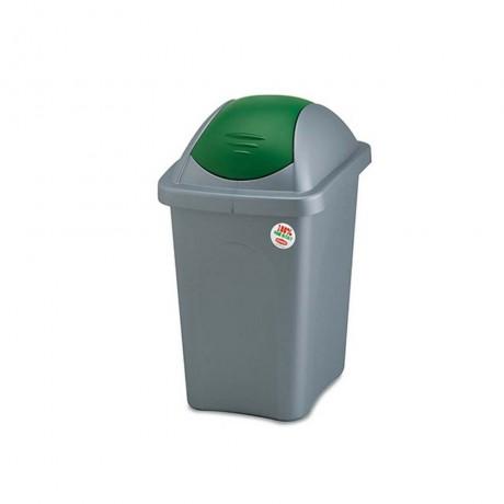 30 л. кош за боклук с люлеещ зелен капак STEFANPLAST от серия Multipat