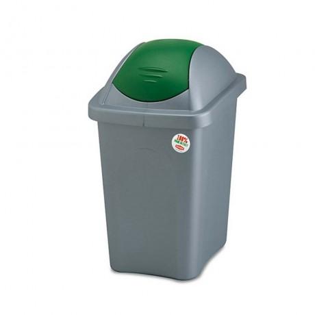 60 л. кош за боклук с люлеещ зелен капак STEFANPLAST от серия Multipat