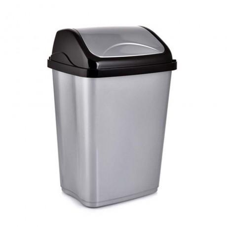 26 л. сив кош за боклук с люлеещ капак