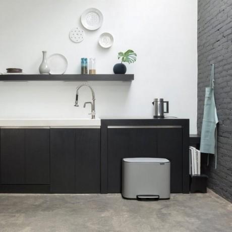 3 х 11 л. кош в цвят минерално бетонно сиво Brabantia серия Bo Pedal