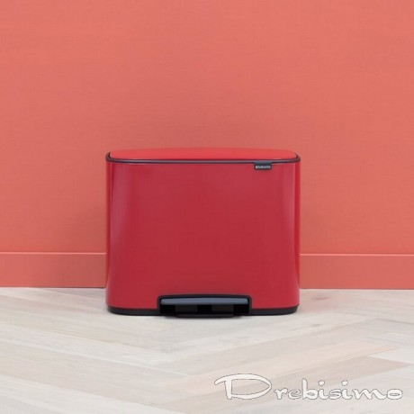 3 х 11 л. страстно червен кош Brabantia серия Bo Pedal