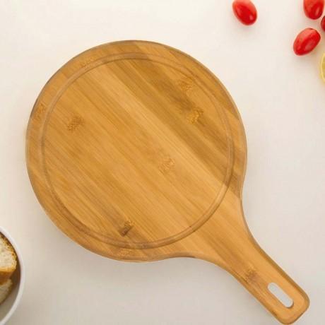 Кръгла бамбукова кухненска дъска с дръжка