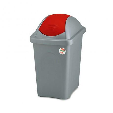 Купи 30 л. кош за боклук с люлеещ червен капак STEFANPLAST от