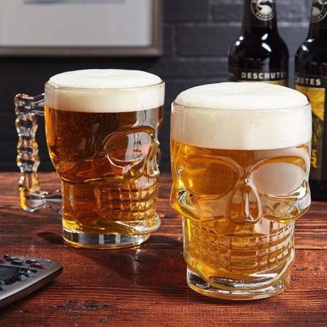 Купи 0,5 л. масивна стъклена халба чаша за бира - череп