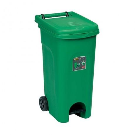 Купи 80 л. зелен кош за отпадъци с колела и педал STEFANPLAST