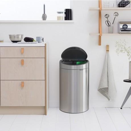10 + 23 л. кош за отпадъци матиран инокс Brabantia от серия Touch Bin New