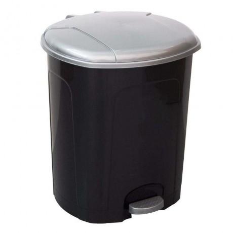 50 л. черен кош за отпадъци със сив капак и отваряне с педал