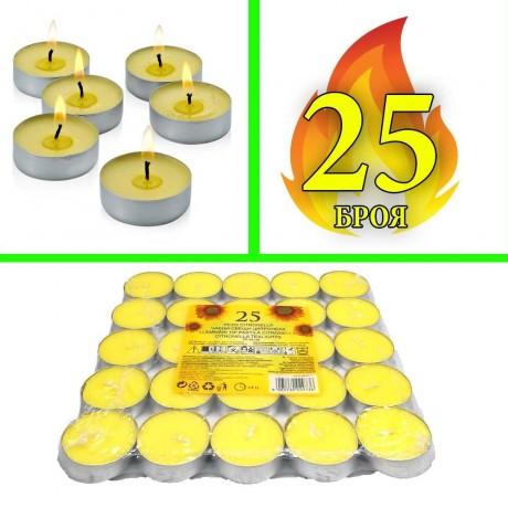 25 бр. чаени свещи против комари с цитронела