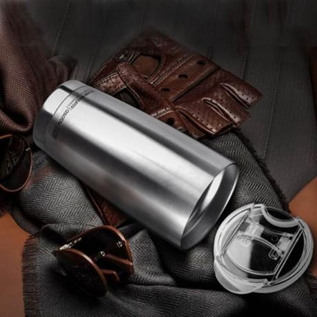 600 мл сребриста двустенна термо чаша ASOBU от серия GLADIATOR