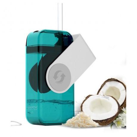290 мл кутия за течности в бял цвят от тритан със сламка ASOBU от серия JUICY