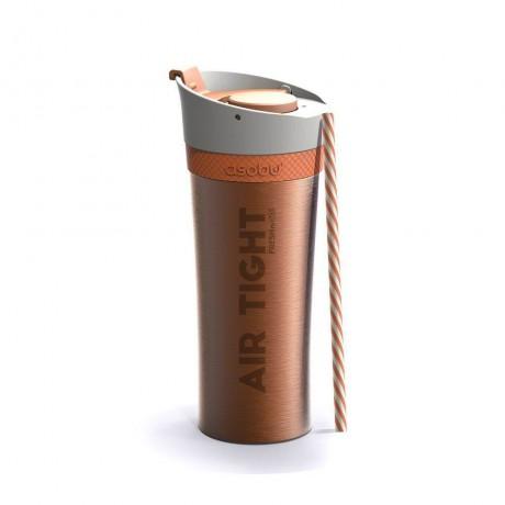 500 мл оранжева двустенна термо чаша с помпа ASOBU от серия FRESH N GO