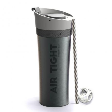 500 мл двустенна термо чаша с помпа цвят графит ASOBU от серия FRESH N GO