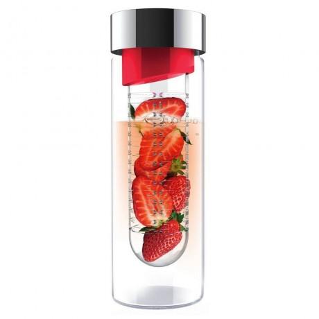 480 мл стъклена бутилка с инфузер в цвят червено ASOBU от серия FLAVOUR IT