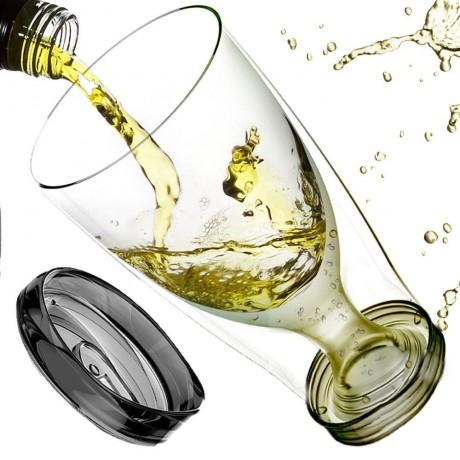 300 мл. тристенна охлаждаща чаша за вино с капак ASOBU от серия ICE VINO 2GO