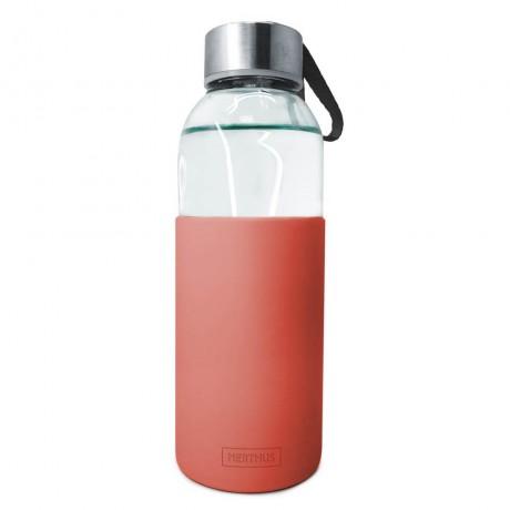 400 мл червена стъклена бутилка със силиконов протектор Vin Bouquet/Nerthus