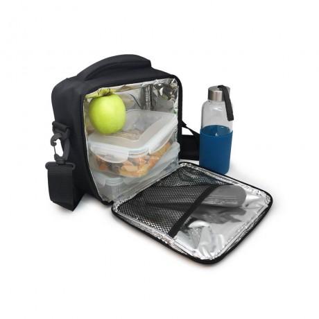 Черна термоизолираща чанта за храна с 2 джоба Vin Bouquet/Nerthus