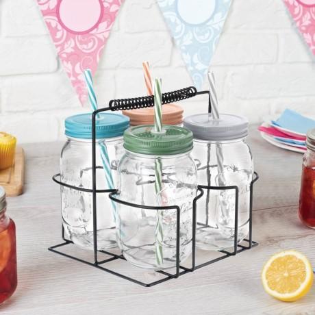 4 бр. комплект стъклени бурканчета със сламки в метална кошничка