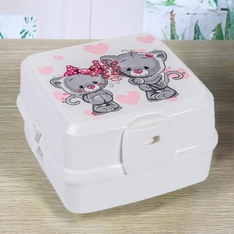 1.4 л. детска кутия за храна с 4 отделения и прибори