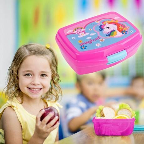 0,55 л. детска кутия за храна Magical Unicorn с две отделения и прибори