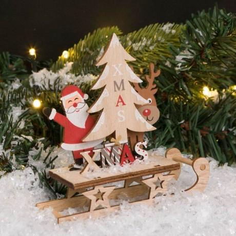 Декорация с дядо Коледа, елен, шейна и елхичка
