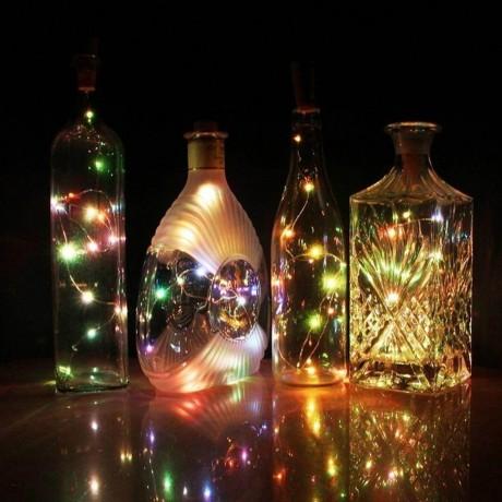 Тапа за бутилка с 8 LED светлини за декорации