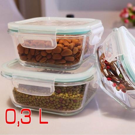 0,3 л херметична стъклена кутия за храна с отвор за пара Higlas