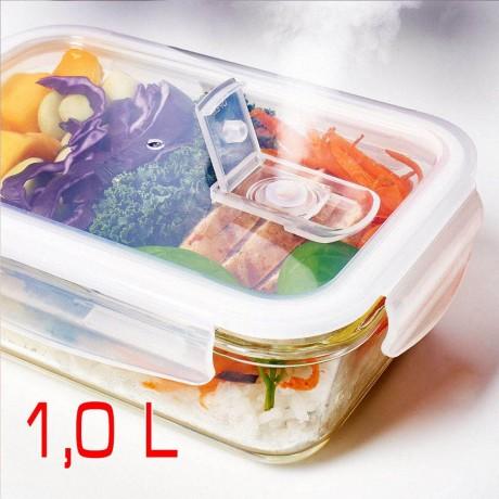 1 л херметична стъклена кутия за храна с отвор за пара Higlas