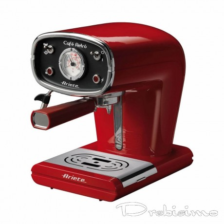 Червена еспресо кафемашина с ръкохватка Ariete от серия Café Retro