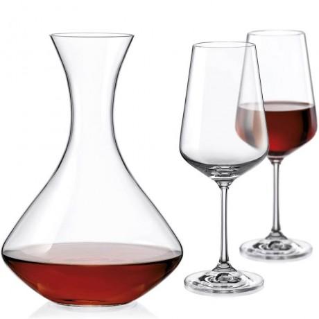 Декантер и 2 бр чаши Bohemia от серия Sandra