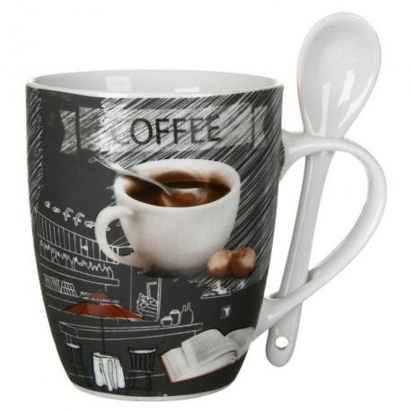 350 мл чаша за кафе или чай с лъжичка