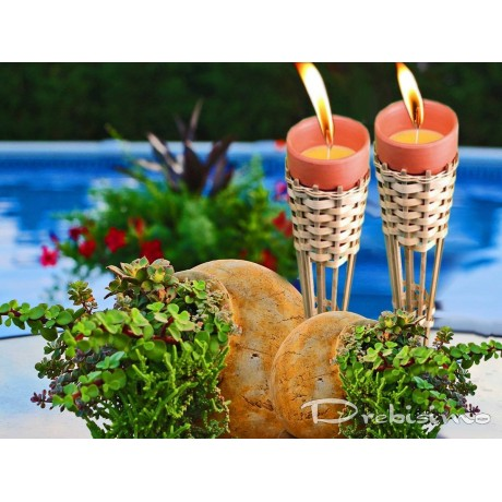 Комплект 6 свещи и 2 факли цитронела