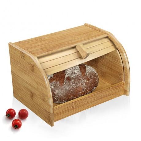 Малка бамбукова кутия за хляб с плъзгаща вратичка