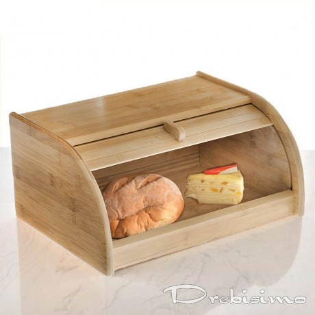 Средна бамбукова кутия за хляб с плъзгаща вратичка BAMBOO