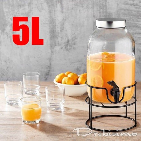 5 литра стъклен буркан с канелка на метална стойка